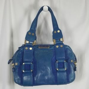 Jimmy Choo Navy Leather and Suede Bag w/Brass